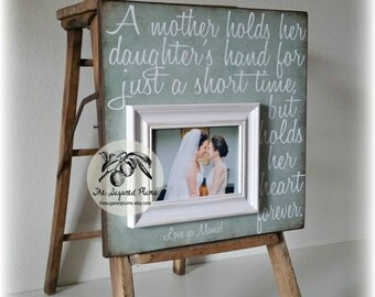 Mother of the Bride Gift, Personalized Picture Frame, A Mother Holds Her Daughters, 16x16 The Sugared Plums Frames
