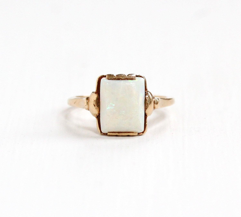 Antique Art Deco 10k Yellow Gold Opal Ring Vintage 1930s