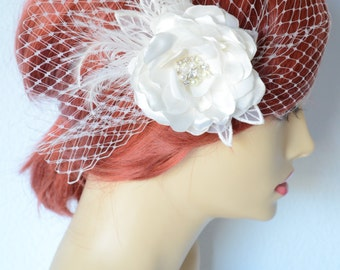 Bridal Ivory Birdcage Veil and hair Flower set, Bridal Flower with feathers, Rhinestones and Pearls Flower,Vintage Birdcage veil, Bridal set