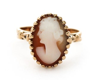 Vintage 9ct Yellow Gold Shell Cameo Ring Unusual 9k 9kt 375 - Size L.5 / 6