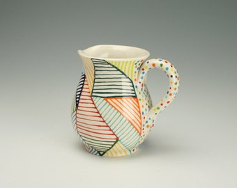 Patchwork Small Pitcher or Flower Vase with Handle Multi Colorful Lines and Dots Hand Painted