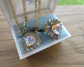 Antique Estate 1940s Made in Germany Costume Rhinestone Ring and Pendant Demi