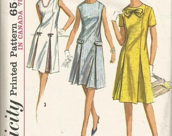 1960s Inverted Pleat Princess Seams Dress Short Sleeves Sleeveless Jewel Neck Simplicity 5913 Size 18 Bust 38 Womens Vintage Sewing Pattern