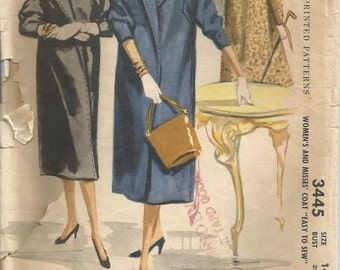 1950s Ladies Clutch Coat Wrap Coat Easy to Sew Shawl Collar Square Armholes McCall's 3445 Size 14 Bust 32 Women's Vintage Sewing Pattern
