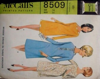 1960s Flared Shift Dress Long Sleeves Band Neck French Darts Quickie Pattern McCall's 8509 Size 14 Bust 34 Women's Vintage Sewing Pattern