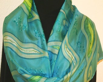 Silk Scarf Handpainted. Teal, Green Hand Painted Shawl. Handmade Silk Wrap DANCING SEAGRASS. Size 11x60. Birthday Gift Mother's Day