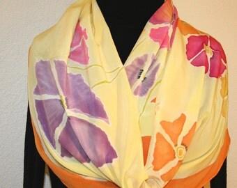 Silk Scarf Handpainted. Yellow, Orange Hand Painted Shawl. Handmade Silk Wrap SUNSHINE FLOWERS. Large 14x72. Birthday Gift Mother's Day