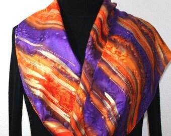 "Silk Scarf Hand Painted Purple, Orange Handmade Shawl RAINING STARS. Size Large 14x72"". Anniversary Gift, Mother Gift. Christmas Gift"