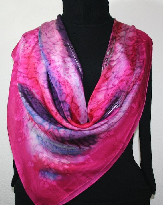 pink silk scarf handmade square silk by silkscarvescolorado