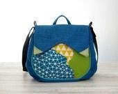Teal Blue Geometric Medium Messenger Bag