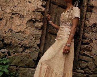 Earthy Cream LOng Skirt made of FAir Trade Hand loom Cotton