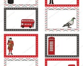 London Calling Printable Labels - British, soldier, bus, taxi, postbox, phone box, pigeon, book plate - Digital Instant Download L006