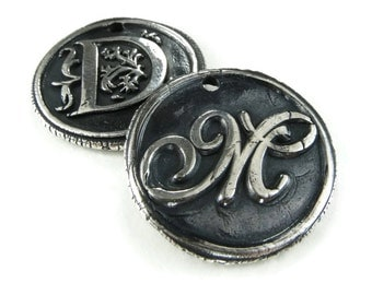 Silver Wax Seal Initial Pendant Necklace, Double-Sided Letters, Personalized Monogram Jewelry, Custom Order