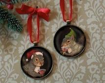 Squirrel Ornament  -Christmas Squirrel Decoration - Santa Squirrel - Christmas Tree Ornament