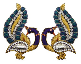 Royal Peacock Patch Appliques Thread Embroidered Bullion Sew Craft Indian Bridal Dress Decor Sewing Peacock Appliques By Pair / 2 Pcs PA125