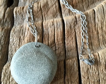 beach stone with silver plated chain