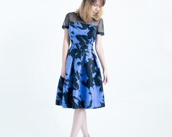 Abstract Printed Silk Knee Length Dress // Dress with sleeves // Blue Dress // Cocktail Dress