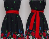Pristine Vintage Black and Floral 70's Jenni Sundress