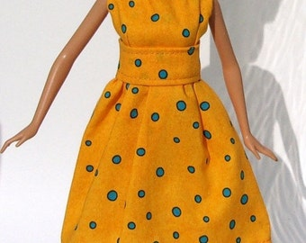Handmade Barbie Doll Dress Yellow with Turquoise Polka Dots