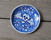 Little Skull Dish - cobalt blue delft memento mori ceramic
