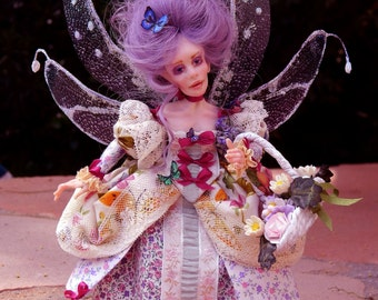 Lavender, Spring, Butterfly,  Purple, Faerie, Fairy, Fairy Doll, 8 inch tall and poseable,  Lavender Blue Butterfly Fairy