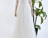 Lace wedding dress with 3/4 sleeve lace bolero