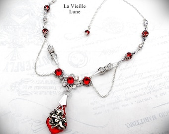Ruby Rococo Victorian Necklace, Gothic Ruby Necklace, Victorian Jewelry