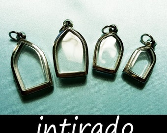 Shadow Box Pendant, Terrarium Necklace, Silver Jewelry Display, Intirado, Petite Arch, Reliquary, Arch, Gothic, Memento, 4pcs, BITCOIN