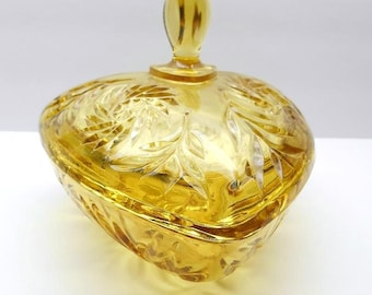 Vintage Gold Glass Candy Dish