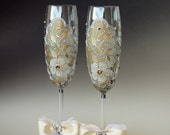 Wedding Toasting Flutes Hand Painted Gold Silver Set of 2
