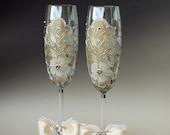 Wedding Glasses, Wedding Toasting Flutes, 2 Sektgläser, Hand Painted Gold Silver Set of 2
