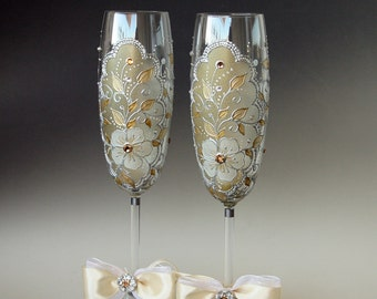 Wedding Glasses, Wedding Toasting Flutes, 2 Sektgläser, Hand Painted Gold Silver Set of 2