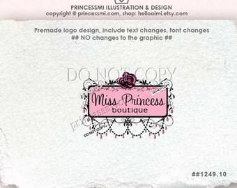 Custom Premade Logo Design - sketch hand drawn Rose logo Damask logo frame Chandelier photography business logo by princessmi  1249-10