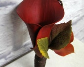 Fall wedding boutonniere Red calla lily corsage Autumn wedding flowers