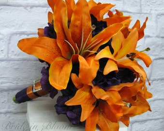 Tiger lily Bouquet Wedding Bouquet - Autumn wedding bouquet - Fall wedding bouquet - Silk flowers