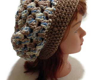 Granny Square Tam, Ombre Brown Hat, Open Stitch Snood, Slouchy Tam Hat, Hippie Tam, Tam Hat, Festival Hat, Boho Hat, Boho Hair Accessories