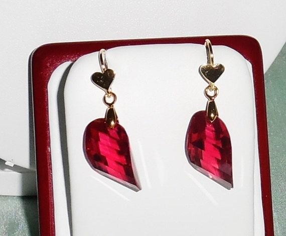 """43 cts Raspberry Pink Kunzite Fancy cut gemstones,14kt yellow gold heart pierced earrings 1 1/2"""" long"""