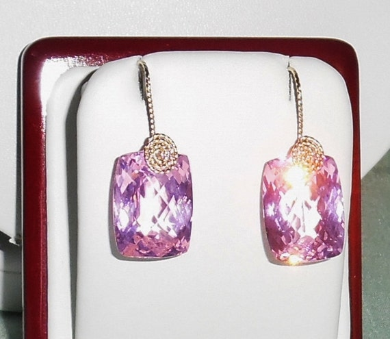 GENUINE 46cts Cushion CKB Pink Topaz gemstones, 14kt yellow gold Pierced Earrings