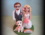Wedding Cake Topper, Custom Wedding Topper, Bride, Groom and One Pet, Anniversary Cake Topper, Personalized, Polymer Clay, Keepsake