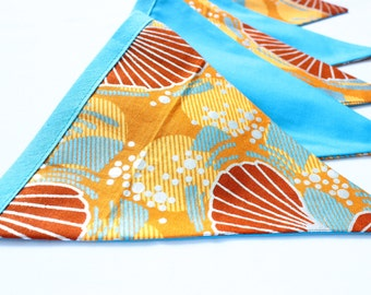 Silver metallic bunting, African fabric bunting, garland, birthday anniversary home garden party decoration