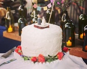 Tree Slice Topper - Rustic wedding cake topper - tree slice wedding cake topper - peg people cake topper - real tree slice cake topper