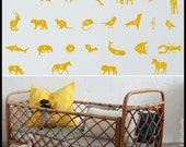 ANIMALS ALPHABET DECAL : Alphabet with animal names , first letters, Rhino, Giraffe, Bear, Shark, Bat, Mouse.