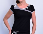 jersey top - black - stripes - loop