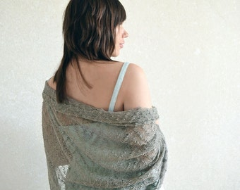 Organic Linen Scarf Gray Shawl Natural Linen Wrap Lace Stole Gauzy Knitted Lace