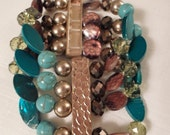 Vintage / BOHO BRACELET / Bangle / Wristlet / Turquoise / Copper / Brown / Gold / Massive / Chunky / Chic / Trendy / Statement / Accessory