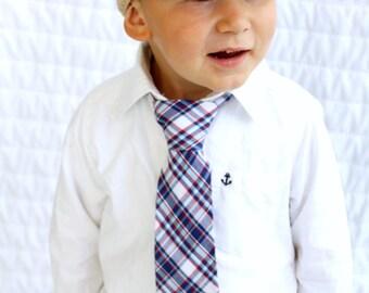 Valentine's Day Red Blue Plaid Tie.  Boy's Wedding Tie. Ring Bearer Tie, Toddler Tie, Baby Boy Tie, Boy Birthday Gift, Dapper Baby Boy.