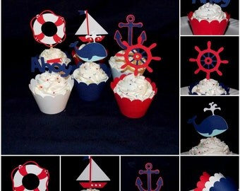 Nautical Cupcake Toppers Red and Navy Sailing Birthday Cake Decoration Baby Shower CUSTOM MiX AVAiLABLE with or w/o wrappers READY TO SHiP