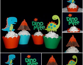 Dinosaur Cupcake Topper Dinosaur Pick Food Pick Party Pick Dinomite Birthday Cake Decoration Baby Shower Choose ANY MiX or ALL the SAME