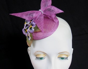 Crocus colour sinamay butterfly and pansy flower fascinator whimsy hat
