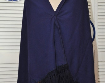 Vintage Womens Navy Blue Shawl/Extra Long Wrap/Cape/60s 70s Theater Costume Boho Cottage Chic Table Runner/Teen Pageant Distressed